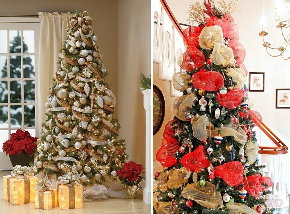 Украшение новогодней елки лентами