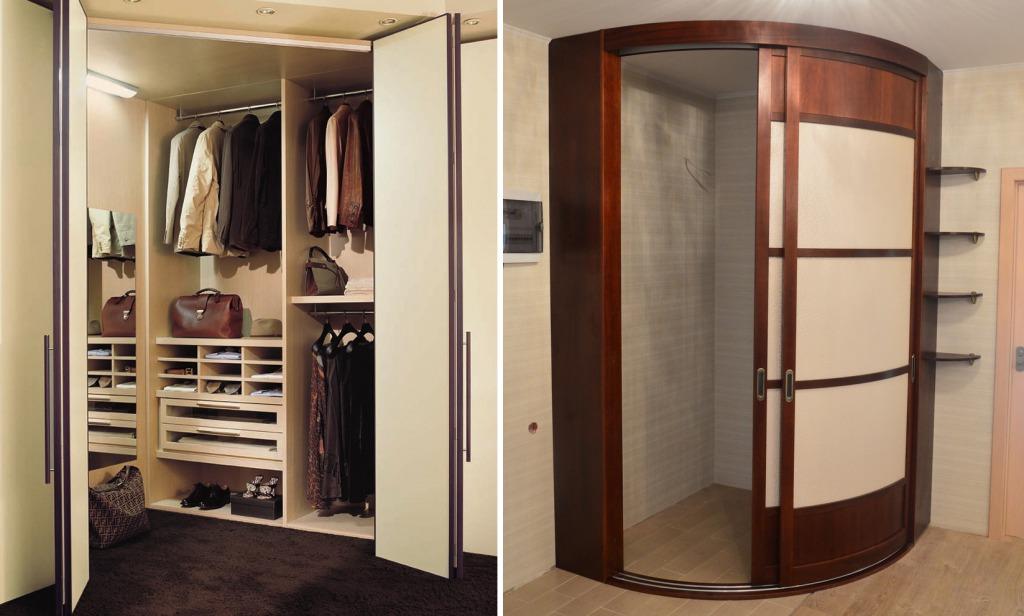 Варианты дверей на угловую гардеробную