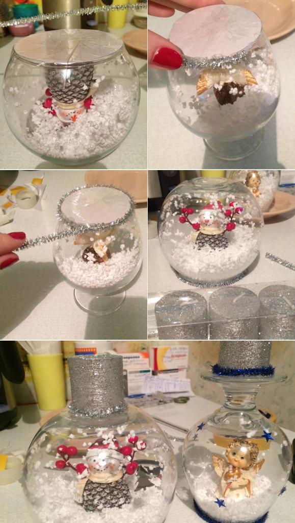 Как сделать подсвечники из бокалов к Новому году