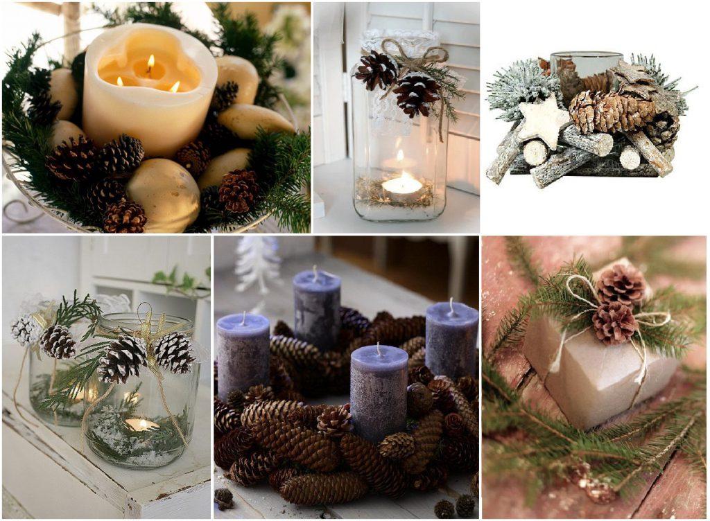 Новогодние украшения из шишек и еловых веток