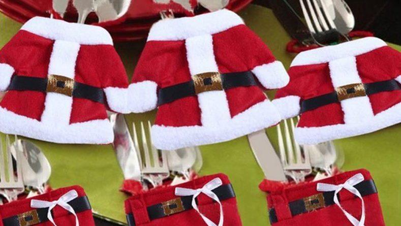 Новогодние кармашки для столовых приборов