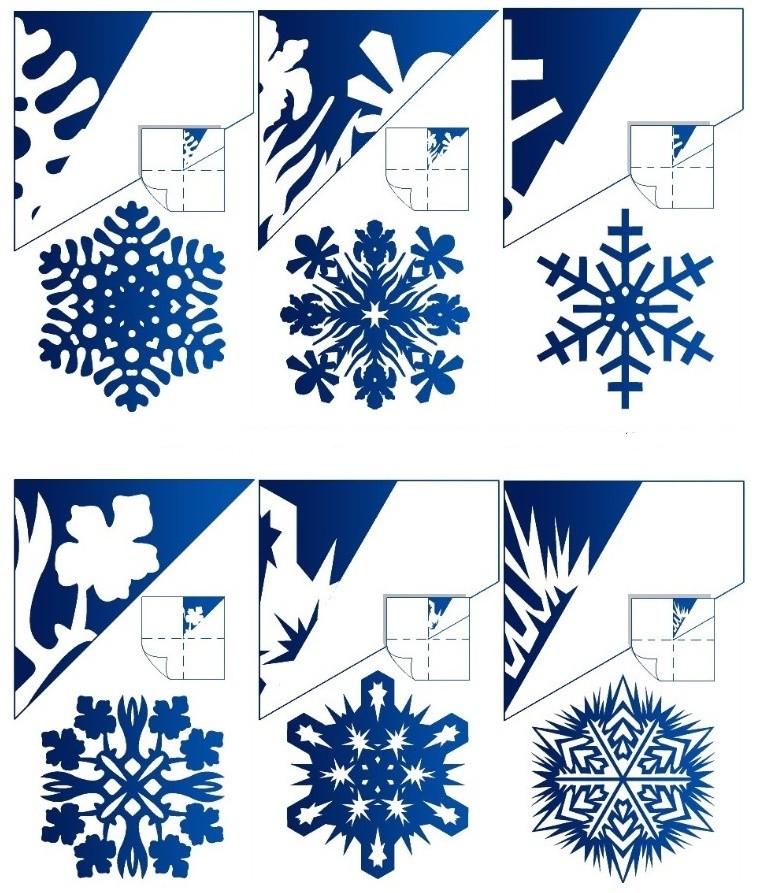 Снежинки из бумаги схемы