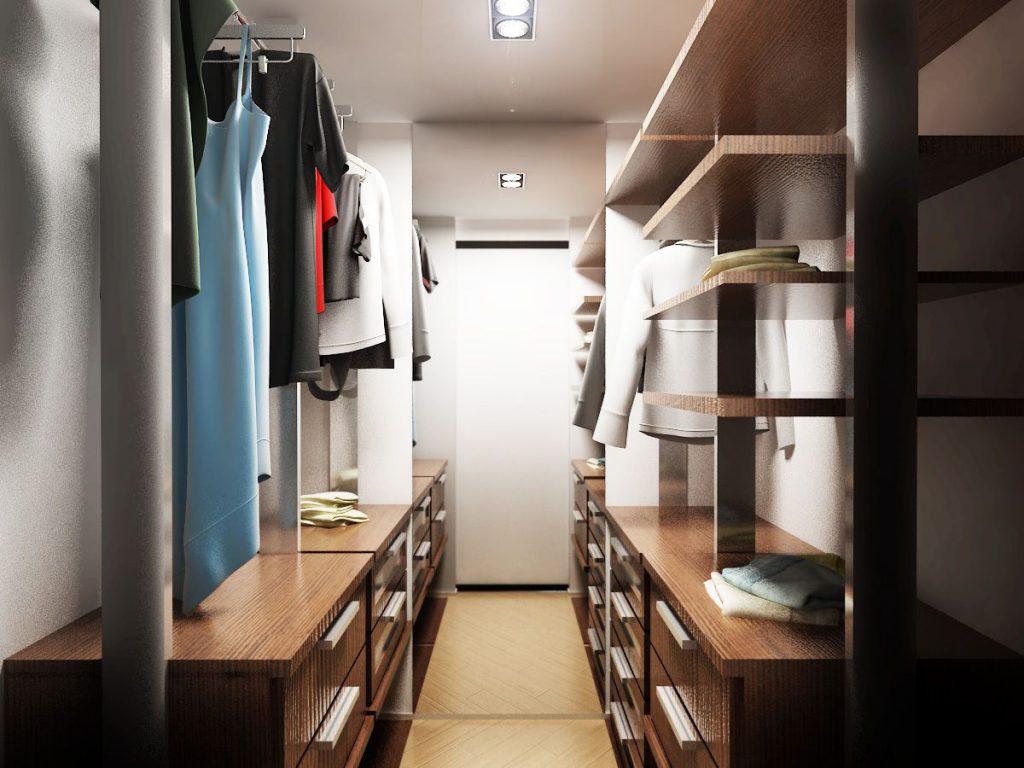 Гардеробная комната параллельного типа
