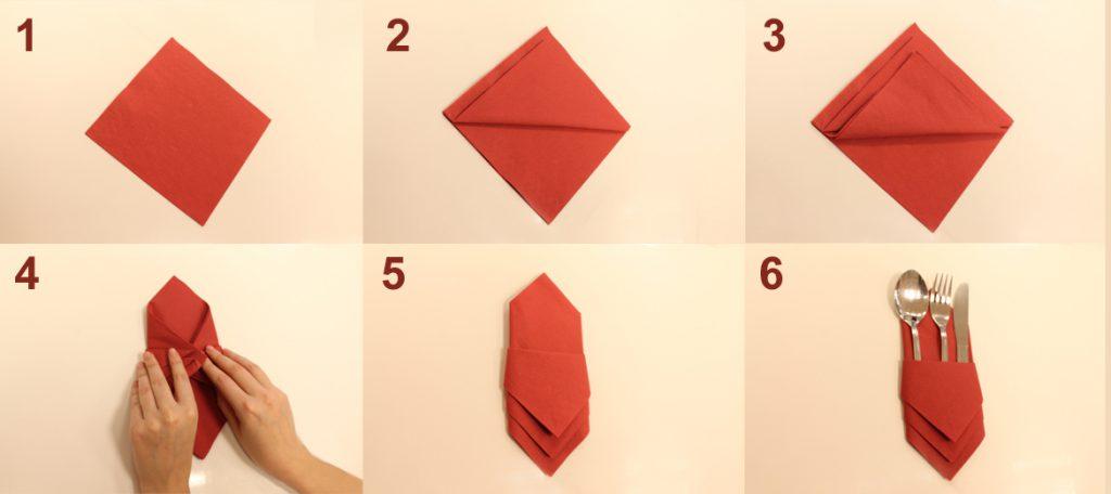 Как из салфетки сложить мешочек для приборов