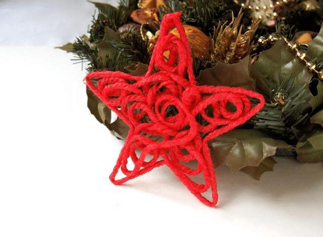 Звезда на елку из ниток