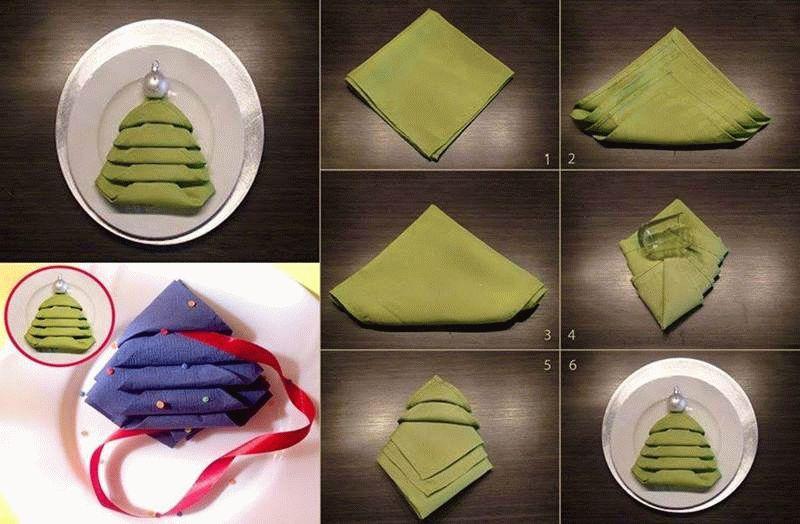 Как сложить салфетку елочкой