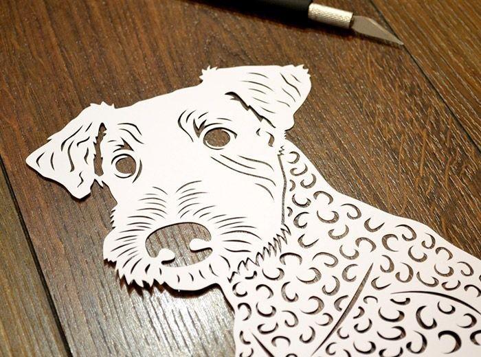 Вытынанка собака своими руками