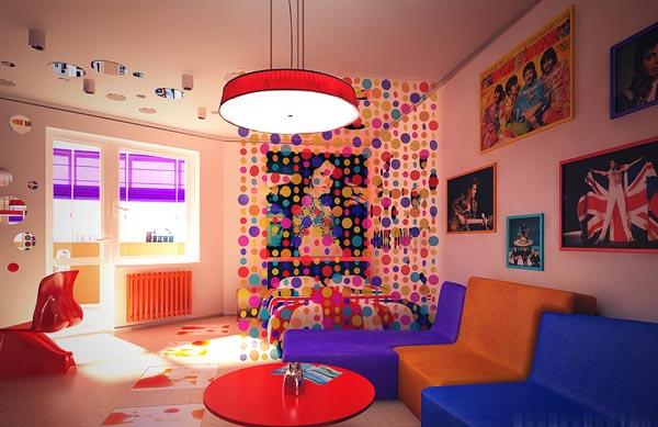 Интерьер в стиле поп арт: актуальные цвета и материалы